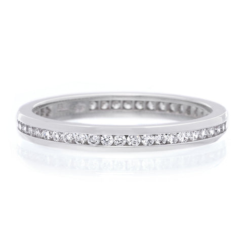 Platinum Pavé Silk Diamond Three Quarter Round Band