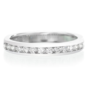 Platinum Channel Set Halfway Diamond Band .33ctw