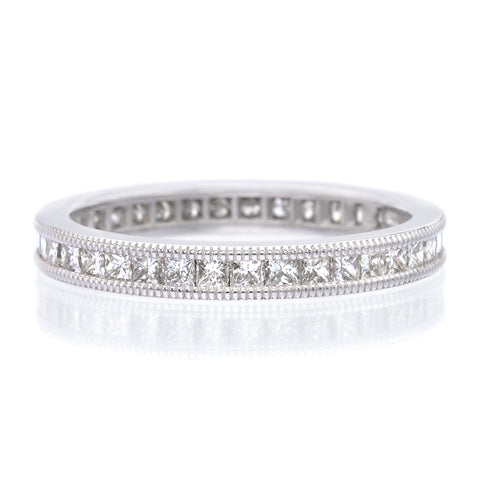 18K White Gold Bead Set Diamond Eternity Band with Milgrain