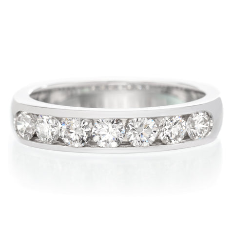 Platinum Bar Set Round & Baguette Diamond Band