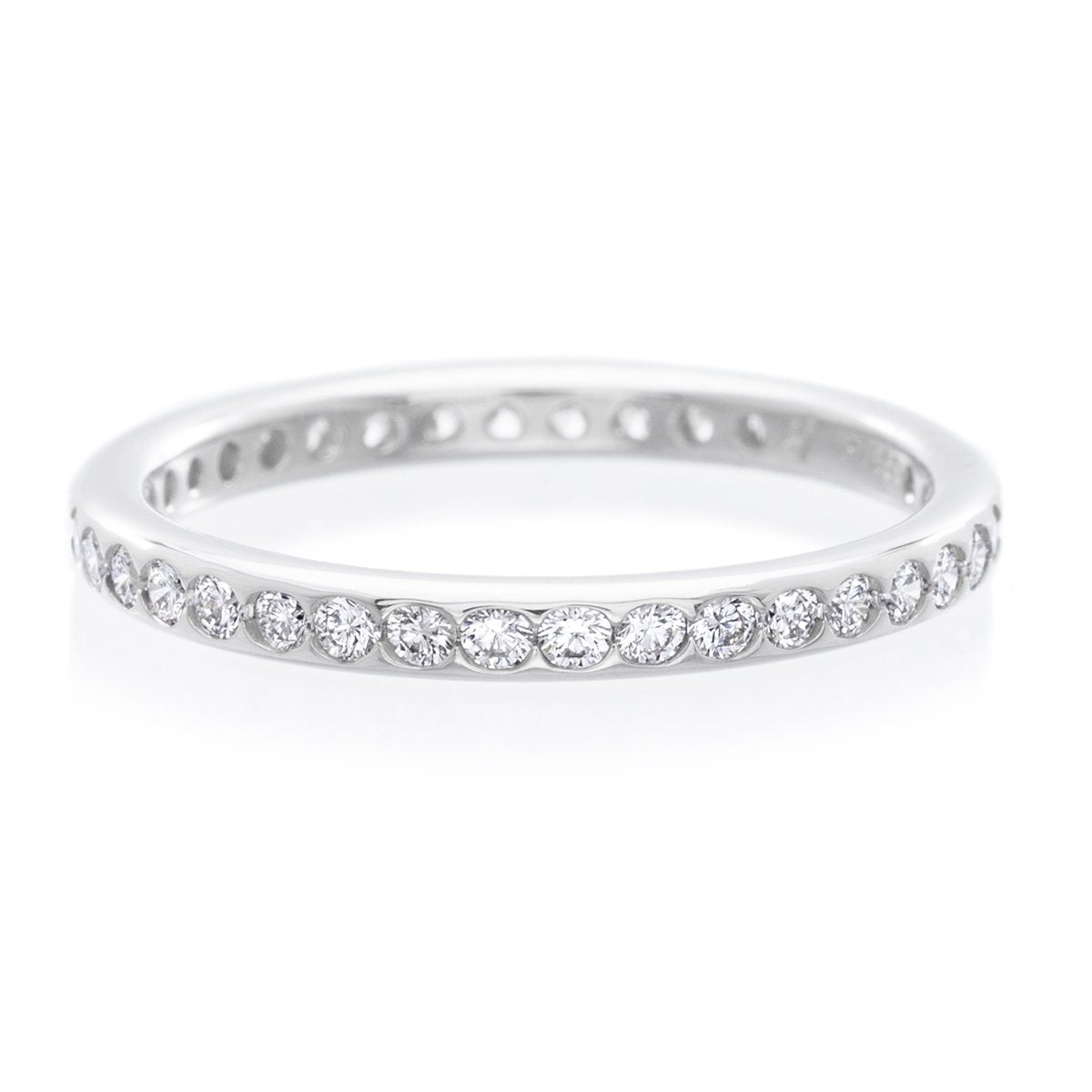Platinum Smooth Channel Set Diamond Eternity Band