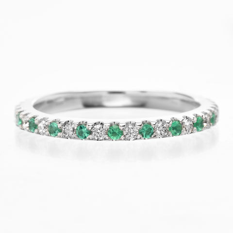 18K White Gold Bezel Set & Pave Diamond Eternity Band