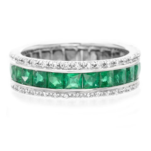 18K White Gold French Cut Emerald & Round Diamond Anniversary Band