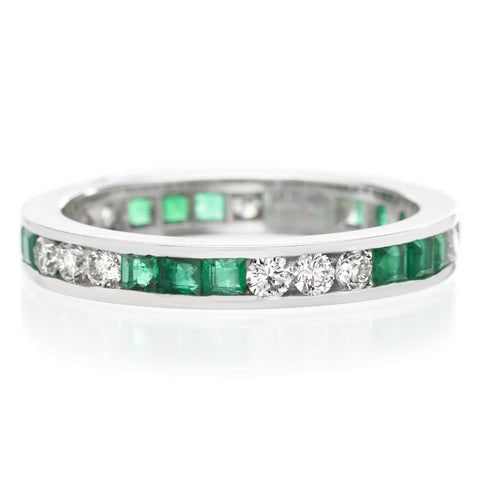 18K White Gold Channel Set Alternating Emerald & Diamond Eternity Band