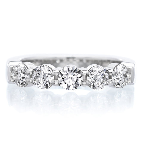 Platinum Pétite Prong® Five Stone Diamond Band 1.00ctw