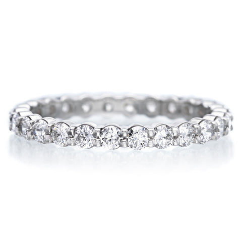 18K White Gold Four Row Eternity Band