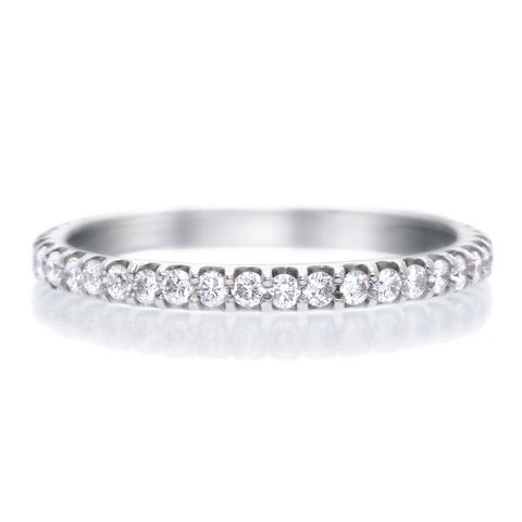 Platinum Pavé Silk Diamond Three Quarter Round Band Size 6.5-7