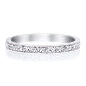 Platinum Bead Set Diamond Band with Milgrain