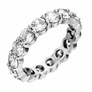 Platinum Prong Set Emerald Cut Eternity Band