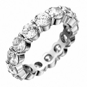 18K White Gold Paragon Three Row Diamond Eternity Band 4.20 CTW
