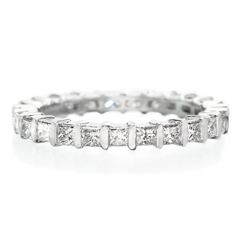 18K White Gold Channel Set Alternating Sapphire & Diamond Eternity Band