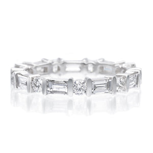 Platinum Alternating Round & Baguette Cut Diamond Eternity Band