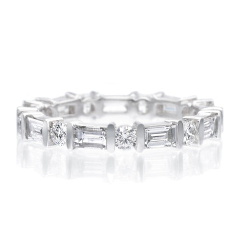 wedding band eternity platinum heidi gibson baguette bands