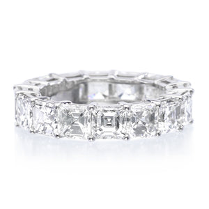 Platinum Asscher Cut Diamond Eternity Band