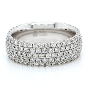 18K White Gold Five Row Pave Diamond Eternity Band