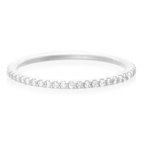 18K White Gold Diamond Eternity Stacking Ring