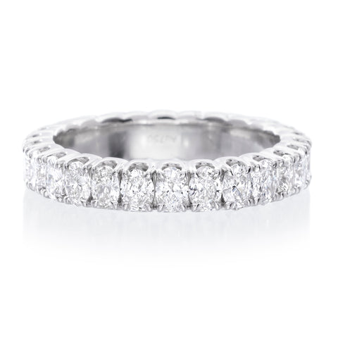 18K White Gold Oval Diamond Eternity Wedding Band