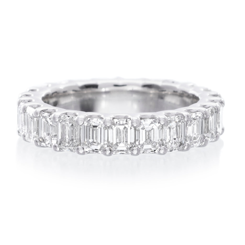 It is a picture of 45K White Gold Emerald Cut Eternity Wedding Band