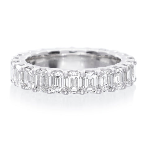 18K White Gold Emerald Cut Eternity Wedding Band