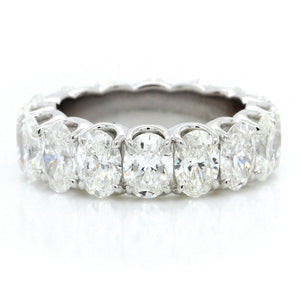 18K White Gold Oval Cut Diamond Eternity Band