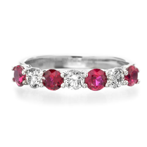 Platinum 7 Stone Alternating Ruby & Diamond Band