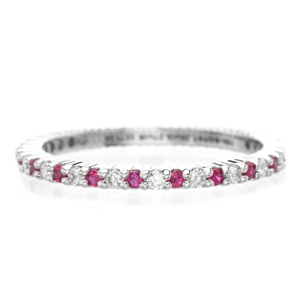 18K White Gold Alternating Ruby & Diamond Eternity Band