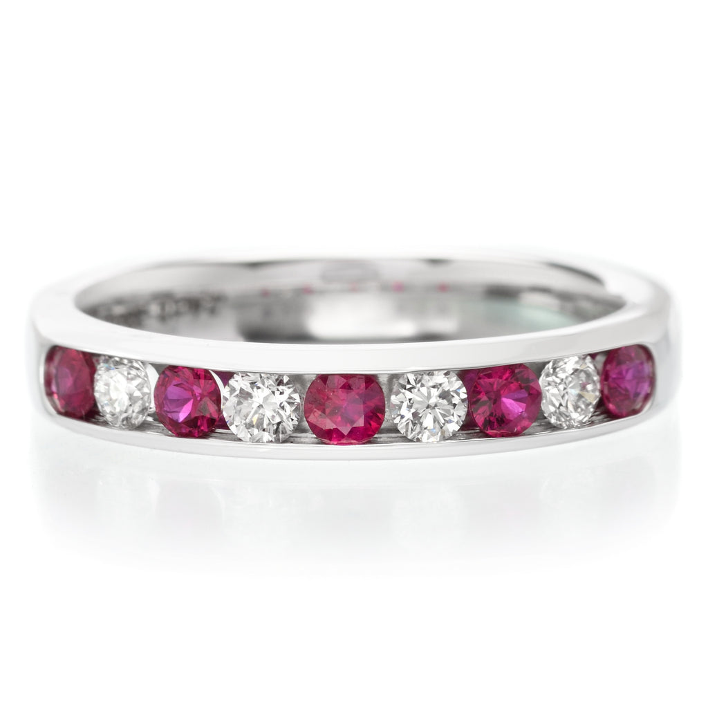18K White Gold Channel Set Alternating Ruby & Diamond Band