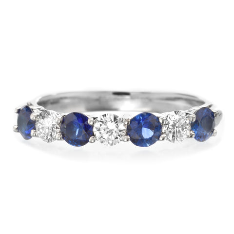 Platinum 7 Stone Alternating Sapphire & Diamond Band