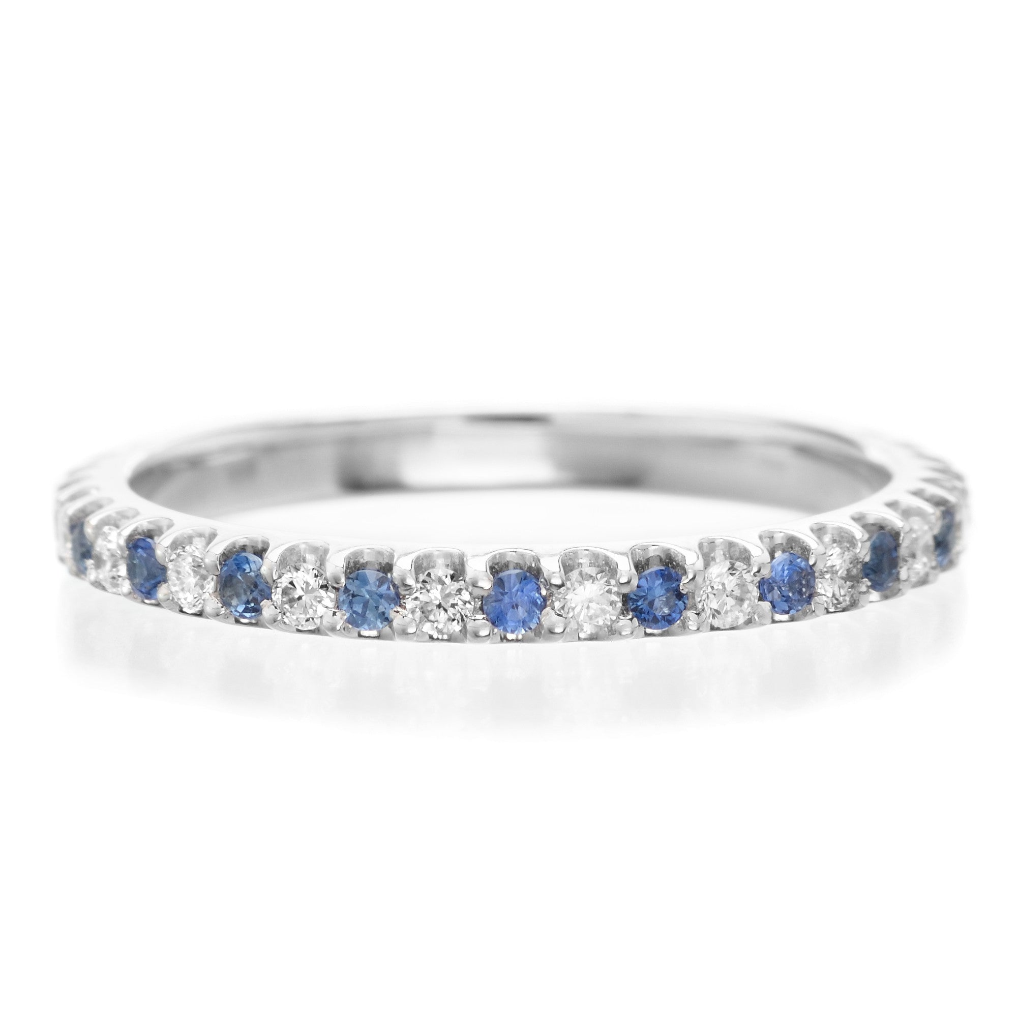 18K White Gold Alternating Sapphire & Diamond Eternity Band