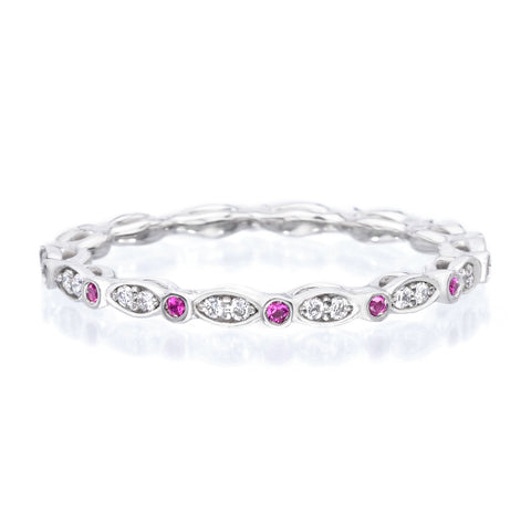18K White Gold Diamond & Pink Sapphire Eternity Band