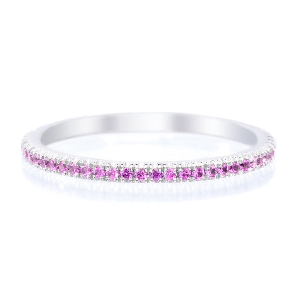 18K White Gold Stackable Pink Sapphire Eternity Band