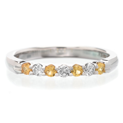 18K White Gold 7 Stone Alternating Yellow Sapphire & Diamond Band