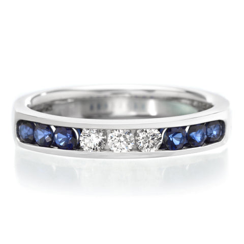 18K White Gold Channel Set Alternating Sapphire & Diamond Band