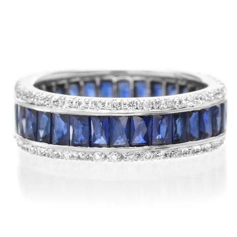18K White Gold French Cut Sapphire & Round Diamond Anniversary Band