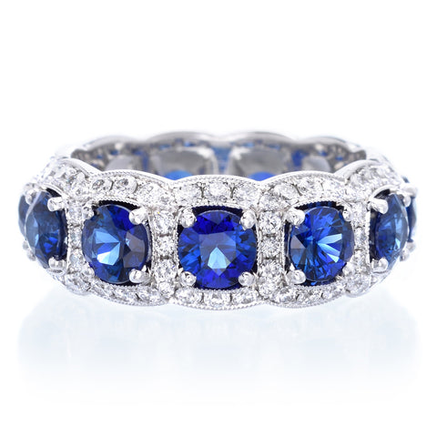 Platinum Sapphire & Diamond Halo Eternity Band
