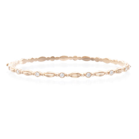 18K Rose Gold Diamond Oval Hinged Bangle