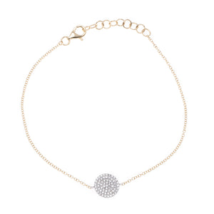 14K Two-Tone Diamond Pave Disc Bracelet