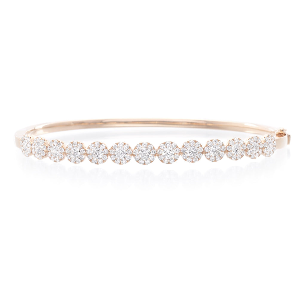 18K Rose Gold Round Diamond Cluster Bangle
