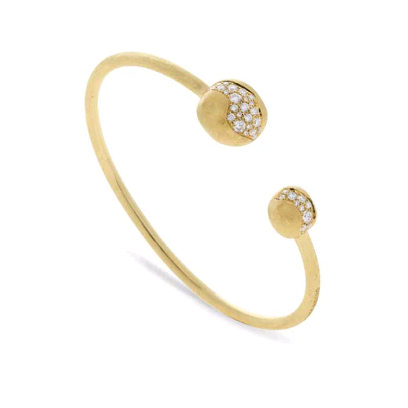 Africa 18K Yellow Gold Diamond Ends Cuff