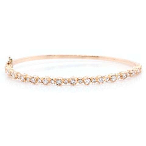 14K Rose Gold Diamond Milgrain Bangle
