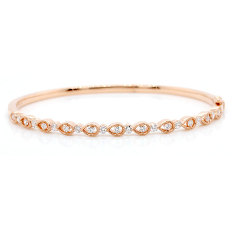 18K Rose Gold Diamond Milgrain Bangle