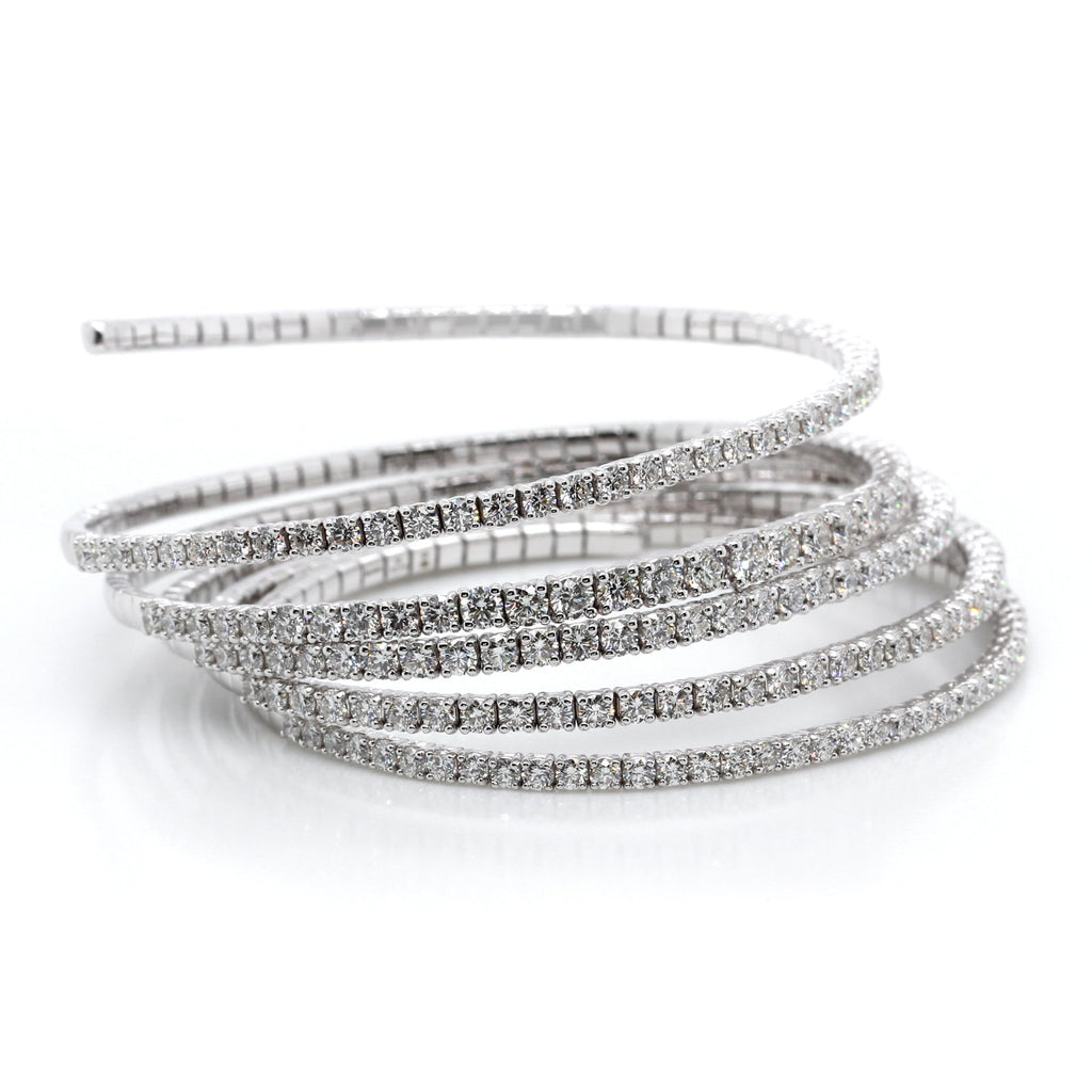 18K White Gold Diamond Coil Bracelet