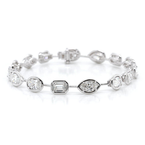 18K White Gold Alternating Diamond Bracelet