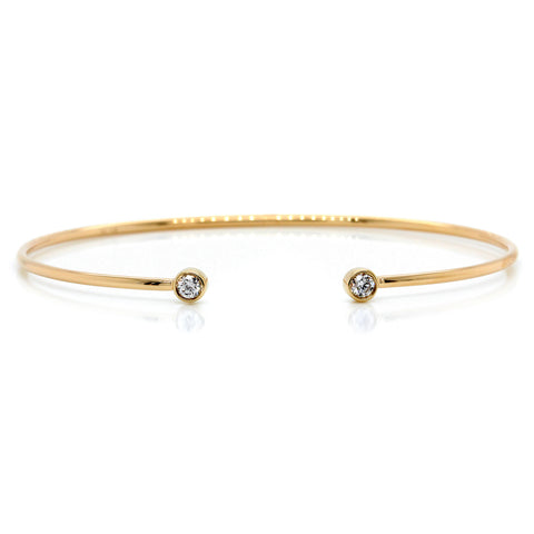 14K Yellow Gold Thin Diamond Cuff