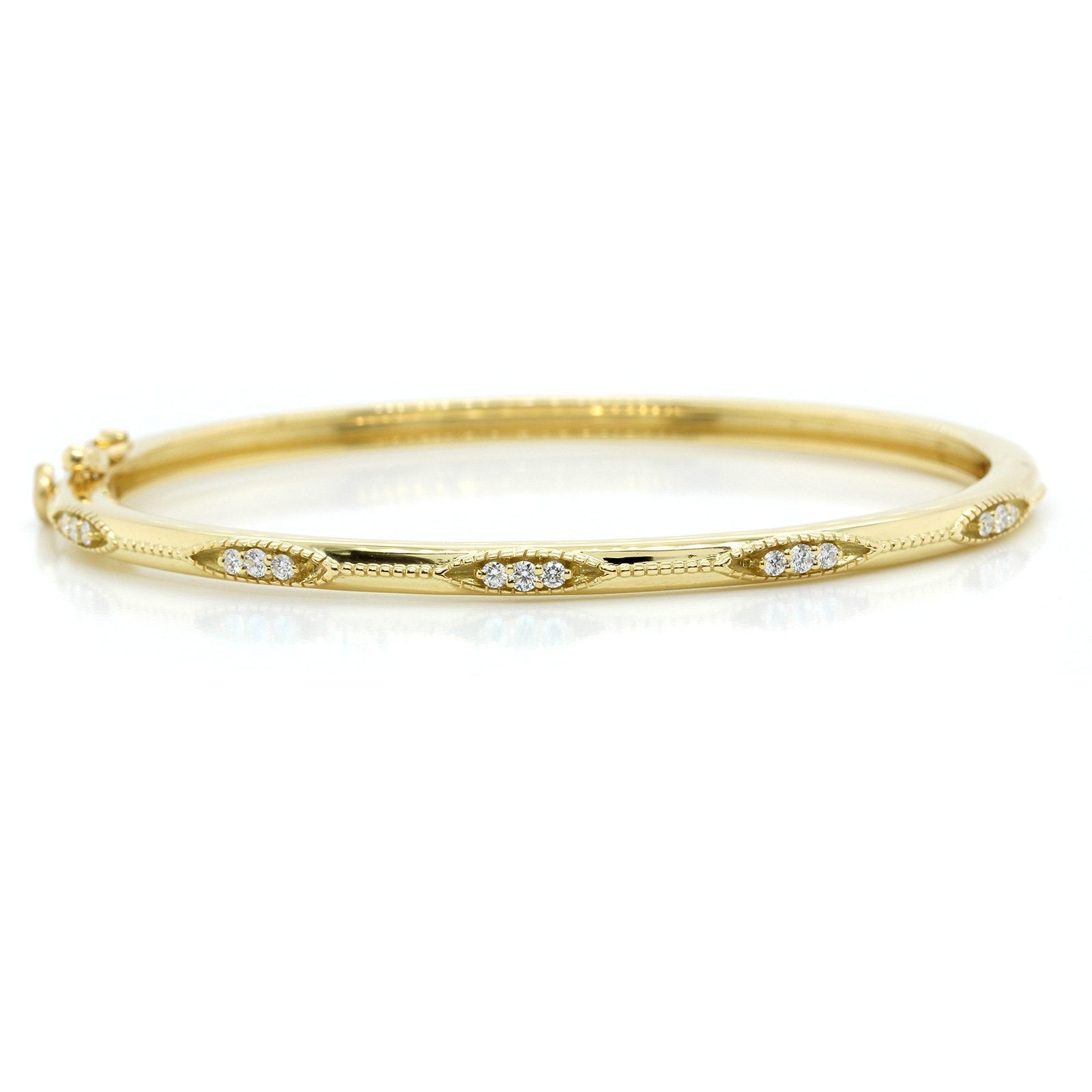 18K Yellow Gold Thin Diamond Bead Bangle