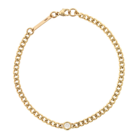 14K Yellow Gold Diamond Small Curb Chain Bracelet