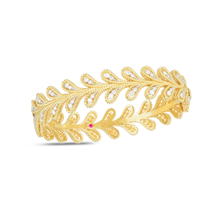18K Yellow Gold Byzantine Barocco Diamond Bangle
