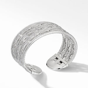 Stax Cuff Bracelet in 18K White Gold with Pavé Diamonds