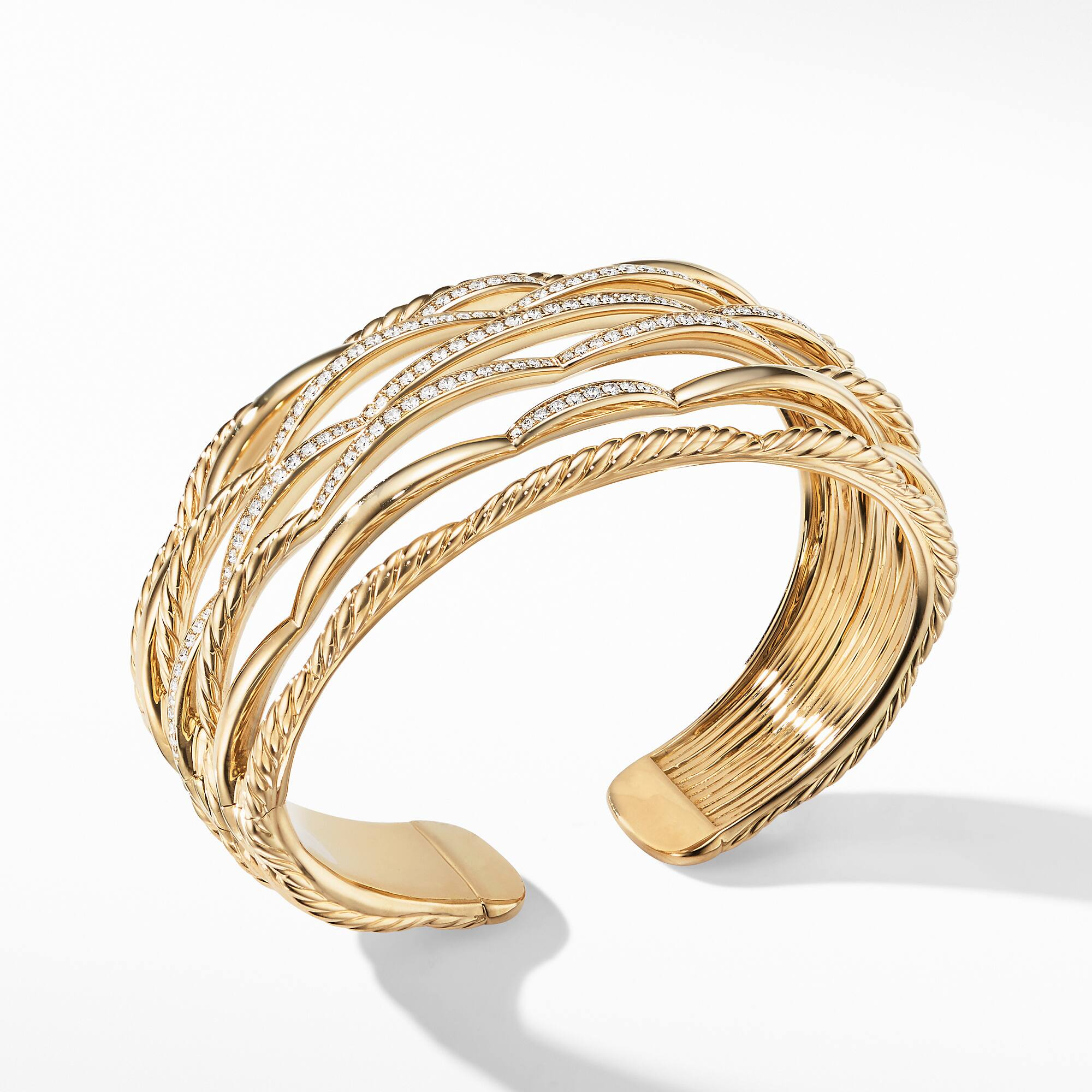 Tides Cuff Bracelet in 18K Yellow Gold with Diamonds