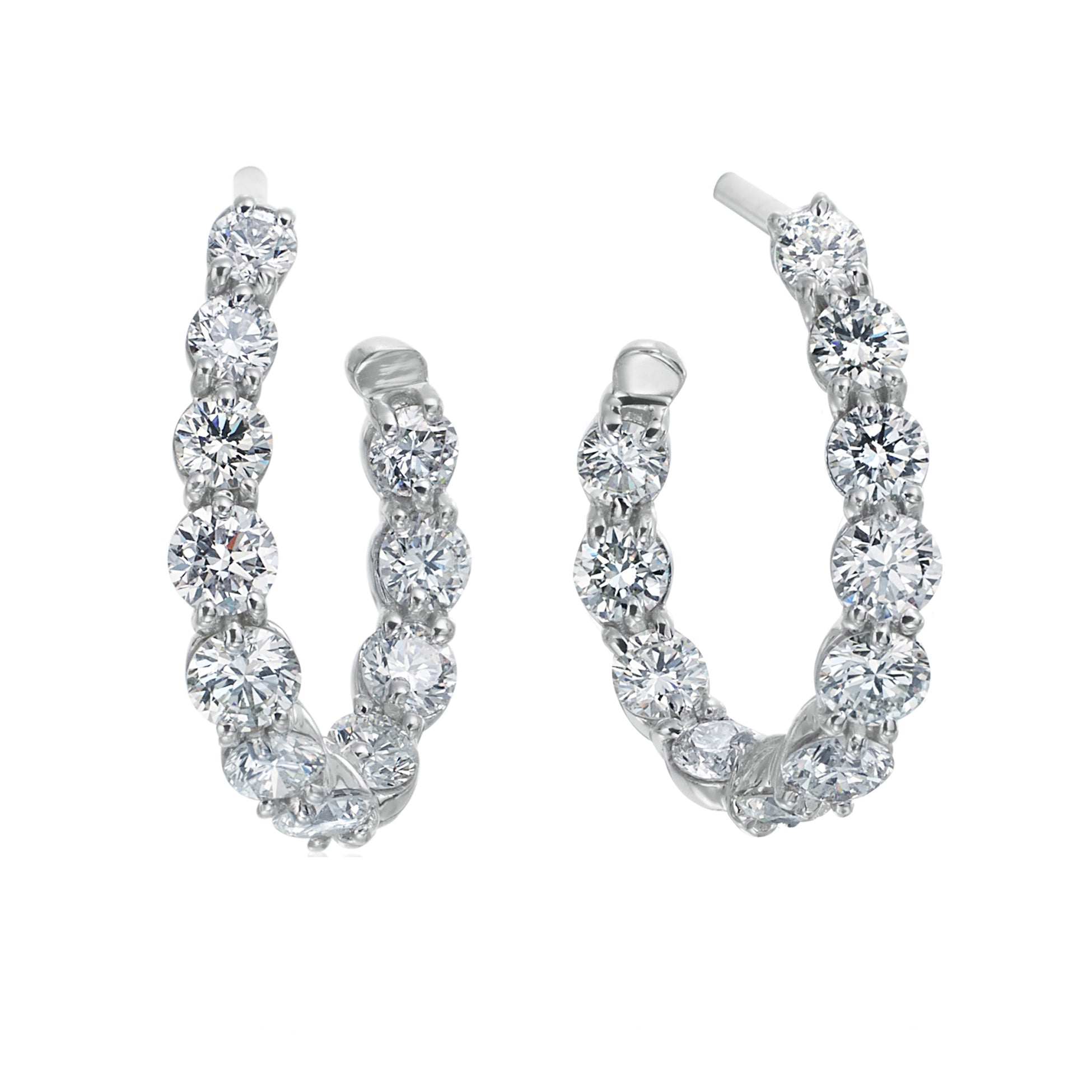 18K White Gold Diamond New Moon Hoop Earrings
